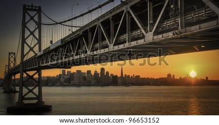 Sunset over San Francisco from Treasure Island - stock photo