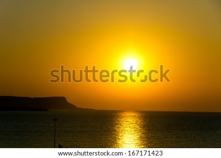 Sunset over sea , Cyprus, Ayia Napa - stock photo
