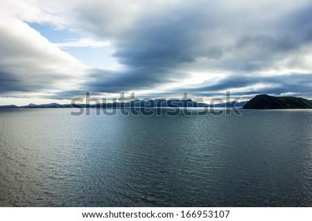Sunset over sea, Norway seascape - stock photo