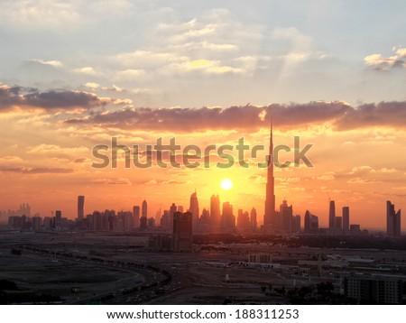 Sunset over Sheikh Zayed Road, Dubai - stock photo