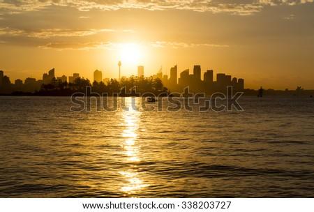 Sunset over Sydney - stock photo