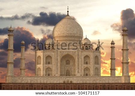 Sunset over Taj Mahal mausoleum, Agra, Uttar Pradesh,  India - stock photo