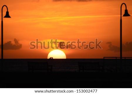 Sunset over the Atlantic ocean, , Key West, Monroe County, Florida, USA - stock photo