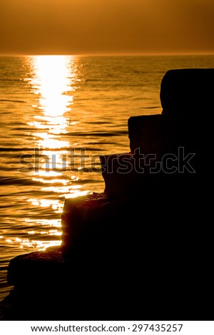 sunset over the Baltic Sea  - stock photo