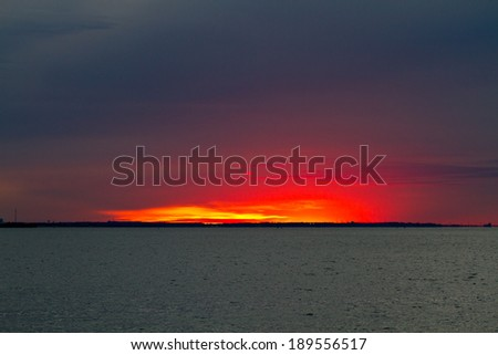 Sunset over the Bay - stock photo