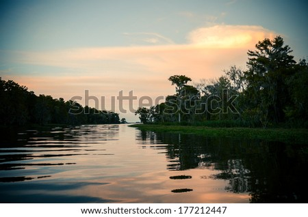 sunset over the bayou  - stock photo