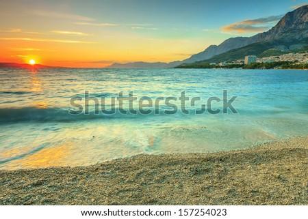 Sunset over the beach,Makarska,Dalmatia,Croatia - stock photo