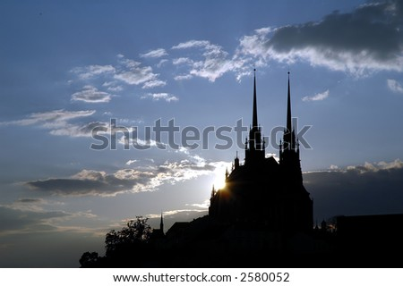 sunset over the cathedral - stock photo