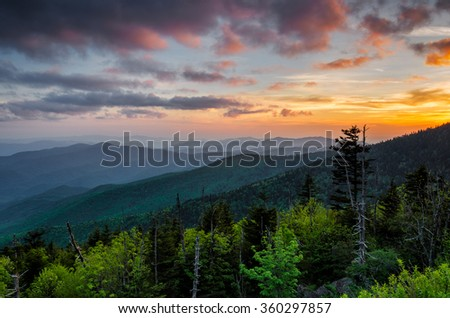 Sunset over the Great Smoky Mountains from Clingmans Dome - stock photo