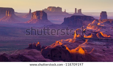 Sunset over the Hunt's Mesa - stock photo