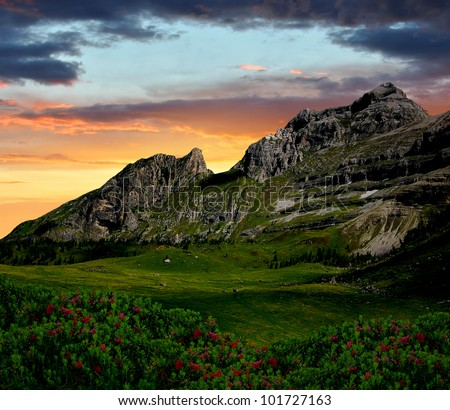 sunset over the mountain Brenta-Dolomites Italy - stock photo