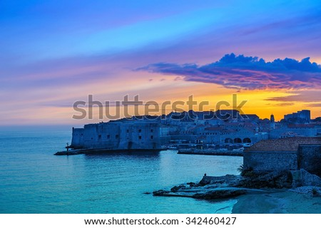 Sunset over the Old Town of Dubrovnik, Croatia - stock photo