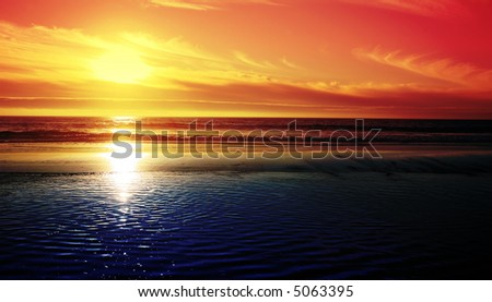 Sunset over the Pacific Ocean - stock photo