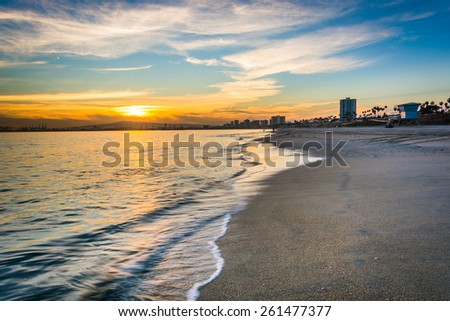 Sunset over the Pacific Ocean, in Long Beach, California. - stock photo