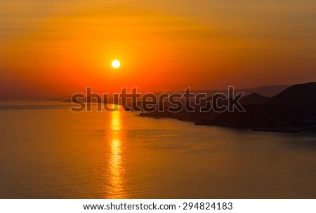 Sunset over the sea, Alanya - stock photo
