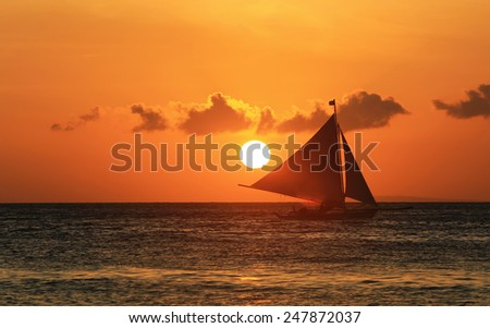 Sunset over the sea near Boracay beach,Philippines - stock photo