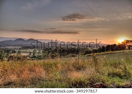 Sunset over the Sudeten Mountains in Poland - stock photo
