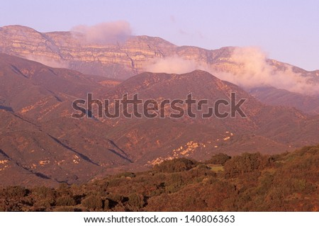 Sunset over the Topa Topa Mountains in Ojai, California - stock photo