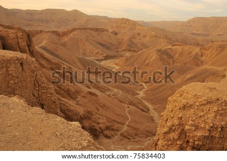 Sunset over the Valley of the Kings at Thebes in Egypt - stock photo