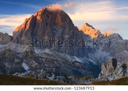 Sunset over Tofana di Rozes, Dolomite Alps, Italy - stock photo