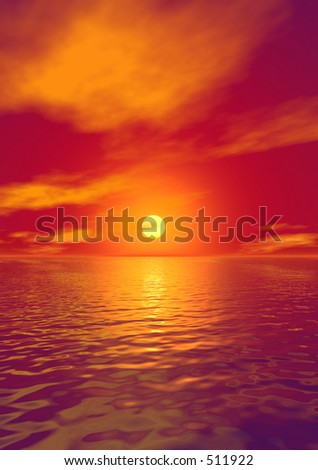 Sunset over water - great for backgrounds - stock photo