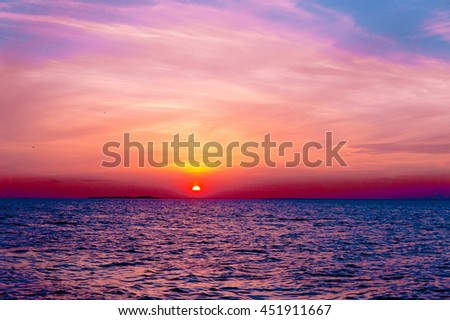 Sunset over Water Magnificent View  - stock photo