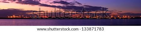 Sunset panorama view from port botany, Sydney. - stock photo
