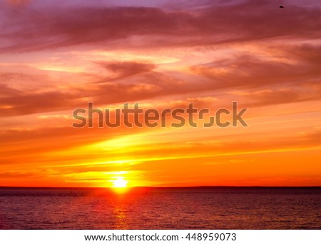 Sunset Paradise Bright Horizon  - stock photo