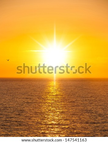 Sunset Paradise Fiery Backdrop  - stock photo