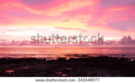Sunset Paradise Fiery Backdrop  - stock photo