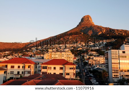 Sunset photo of the Lion Head in Cape Town - stock photo