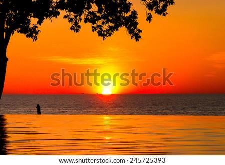 Sunset Pool Holiday Lifestyle  - stock photo