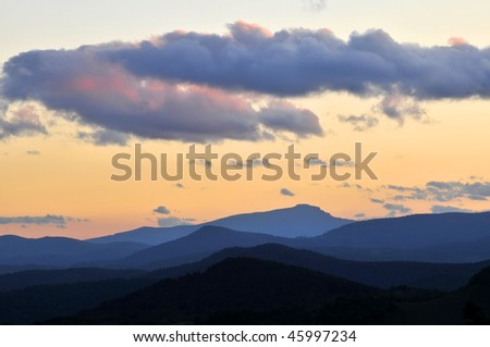 Sunset Profile of Grandfather Mountain North Carolina Horizontal With Copy Space - stock photo