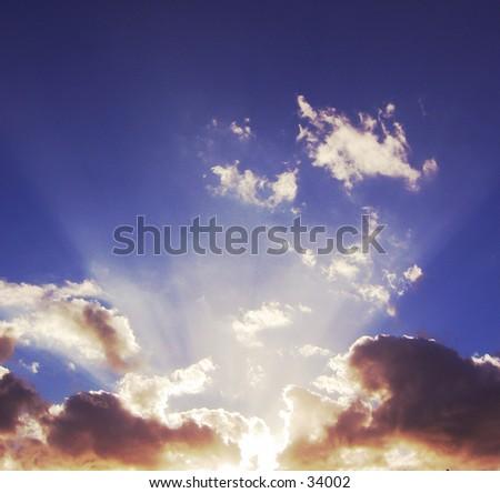 sunset rays - stock photo