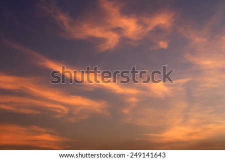 Sunset red sky and clouds backgrounds. - stock photo