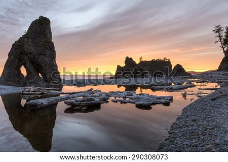 Sunset reflected in a slow moving stream, with sea stacks and driftwood, at Ruby Beach in Olympic National Park, Washington. - stock photo