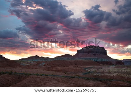 Sunset reflecting off the clouds in southern utah - stock photo