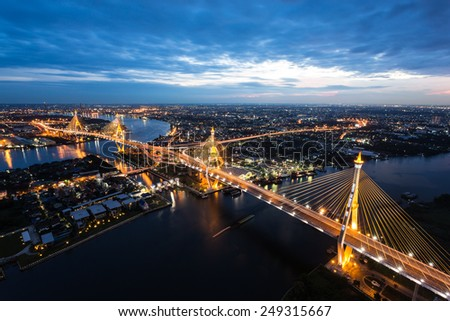 Sunset Scene at Bhumibol Bridge in Bangkok - stock photo