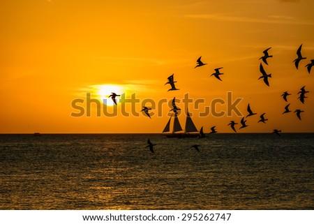 Sunset scene at Key West - FL - stock photo