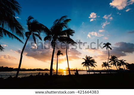 Sunset scene over South Pointe Park in Miami bay at sunset. Florida, USA.  - stock photo