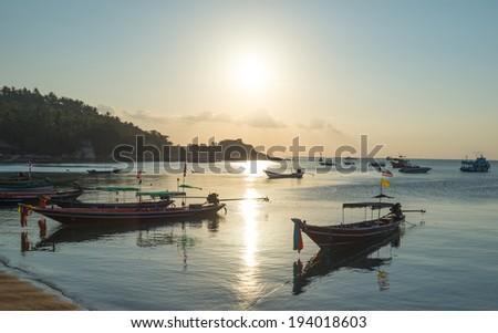 sunset sea coast view at Koh Tao island , Samui, Thailand  - stock photo