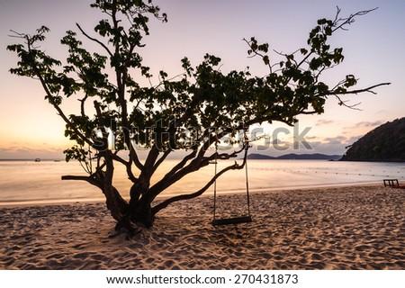Sunset sea koh samet Rayong,Thailand - stock photo