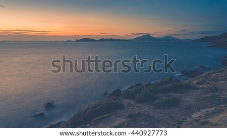 Sunset seascape, At Samed island,THAILAND (Vintage filter effect used) - stock photo