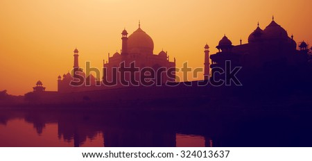 Sunset Silhouette Of A Grand Taj Mahal Sunset Concept - stock photo
