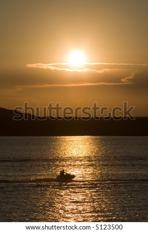 Sunset Skier - stock photo