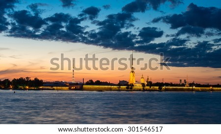 Sunset sky at at Saint-Petersburg, Russia, over Petropavlovskaya (Peter and Paul) fortress during the white nights - UNESCO world heritage site - stock photo