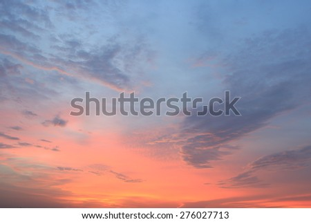 Sunset Sky Background , Colorful sky in twilight time background  - stock photo