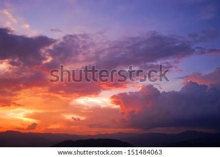 sunset sky background light twilight sunrise nature for design - stock photo