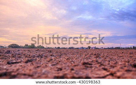 sunset sky ground cloud farmland landscape - stock photo