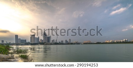 Sunset sky in Singapore city. - stock photo